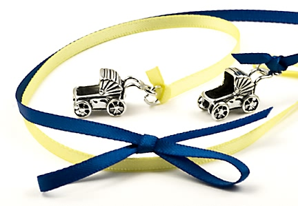 sterling silver baby carriage cake charms