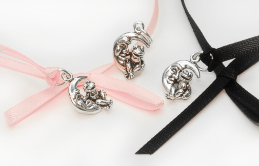 sterling silver frog on moon charms
