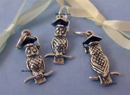 sterling silver Wise owl charms