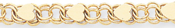 14k gold double link charm bracelets with hearts