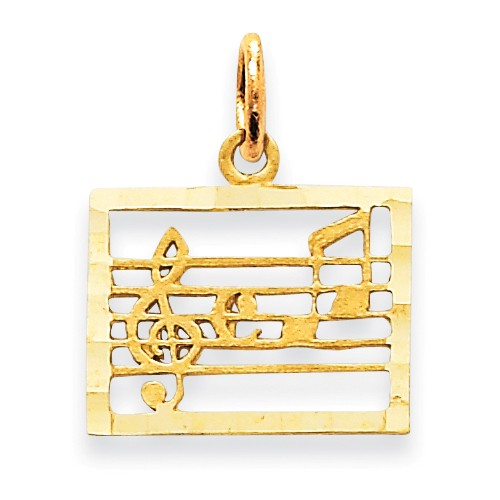 clearance item 14k gold Music Staff