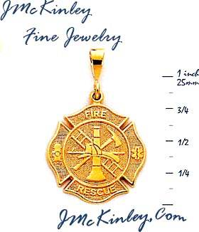 14k gold Fire Rescue Charm 30g