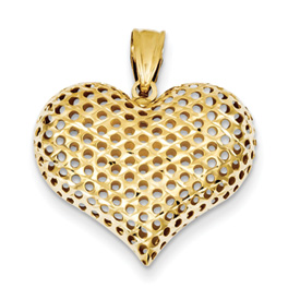 14k Diamond Cut Heart Pendant NOT EXACTLY PICTURE SHOWN The heart is the same shape onl