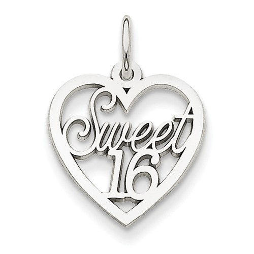 14k white gold sweet 16 charm
