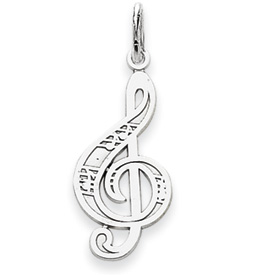 14k white gold treble clef charms with textured details measures 38w x 1 116h weighs 09