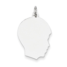 14k white gold boy head charm facing right MEDIUM THICKNESS