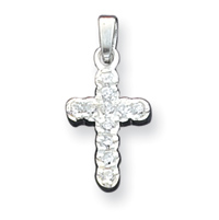 small size Sterling Silver CZ Cross Pendant