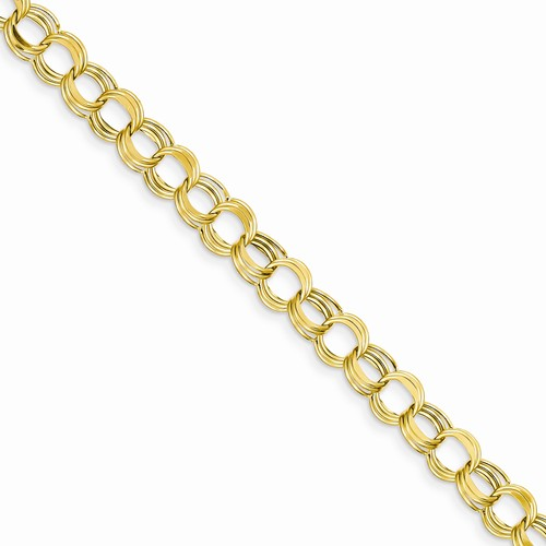 14K Gold Hollow Triple Link Charm Bracelet 725in x 75mm diamond cut