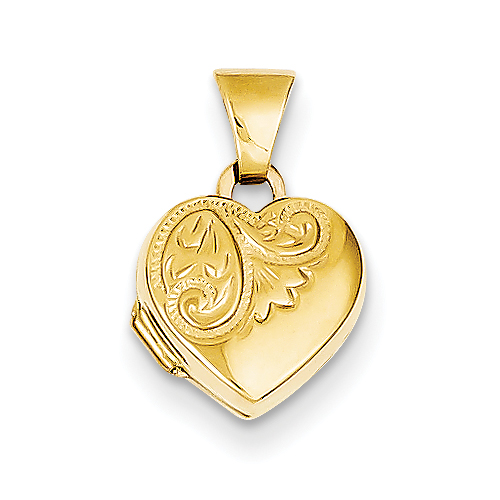 clearance item 14k gold tiny heart locket pendantwith beautiful scroll