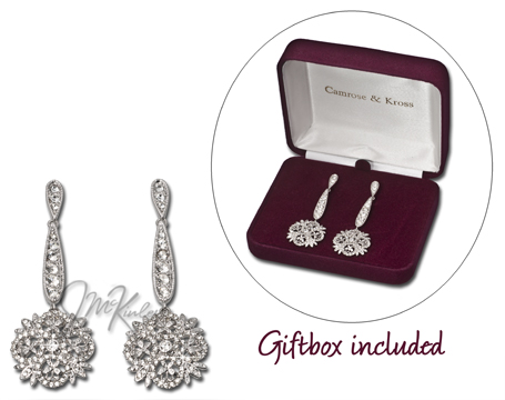 Winter crystal earrings  Jacqueline Kennedy Collection 78w x 2 716h