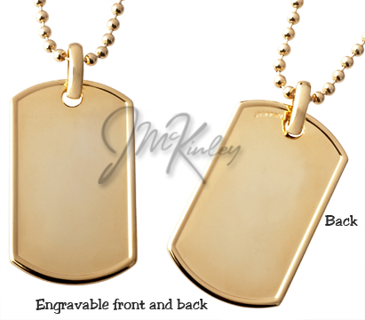 Rolled edge gold plated dog tag same on both sides Very heavy quality piece great for e