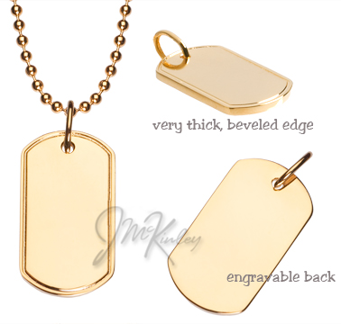 Gold plated dog tag with beveled edges Small size high polish engravable on both sides
