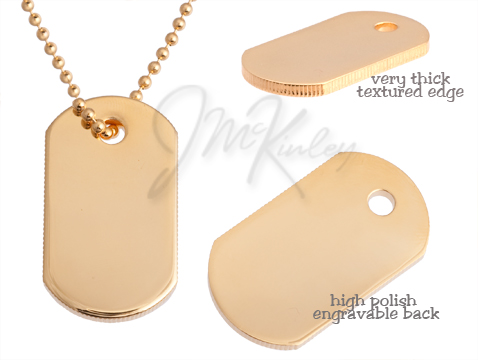 Gold plated dog tag with textured edges Medium size very thick high polish engravable
