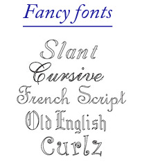 click for fancy font examples