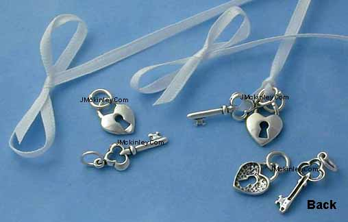 sterling silver lock and key charm