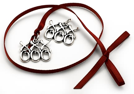 sterling silver Kisses and Hugs charms xxx ooo xoxox